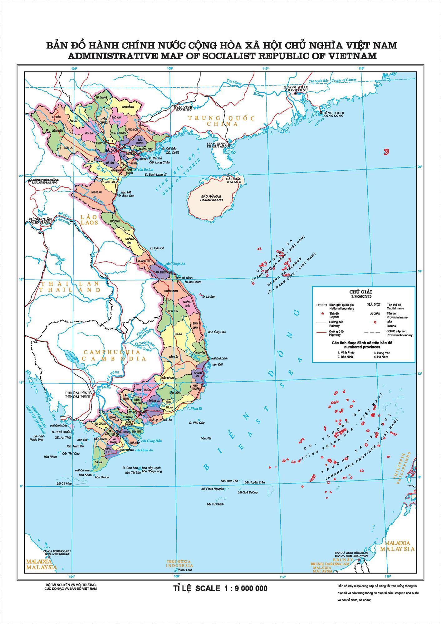 Bản đồ hành chính nước Cộng hòa xã hội chủ nghĩa Việt Nam