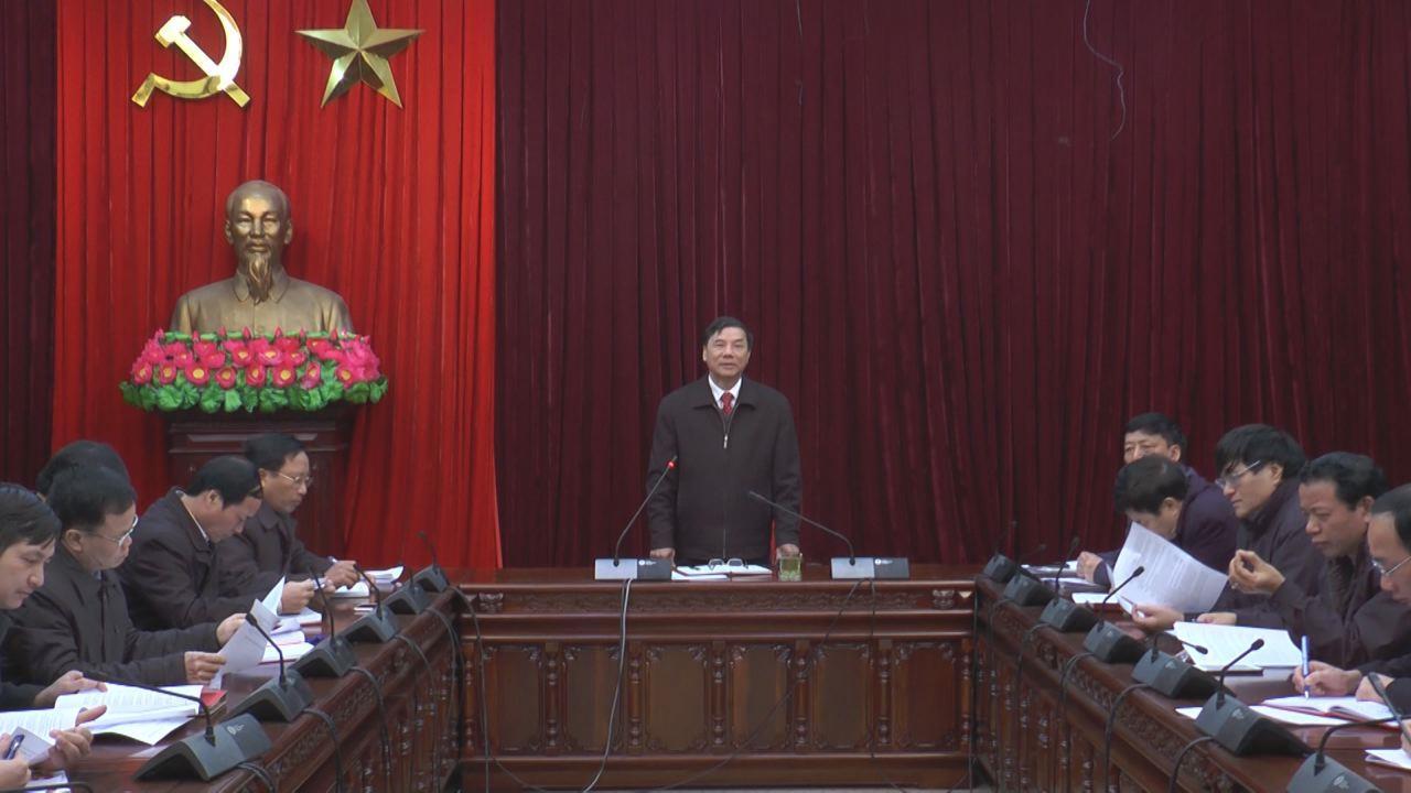 Đồng chí Nguyễn Hữu Quất làm việc với lãnh đạo các Ban xây dựng Đảng và Văn phòng Tỉnh ủy