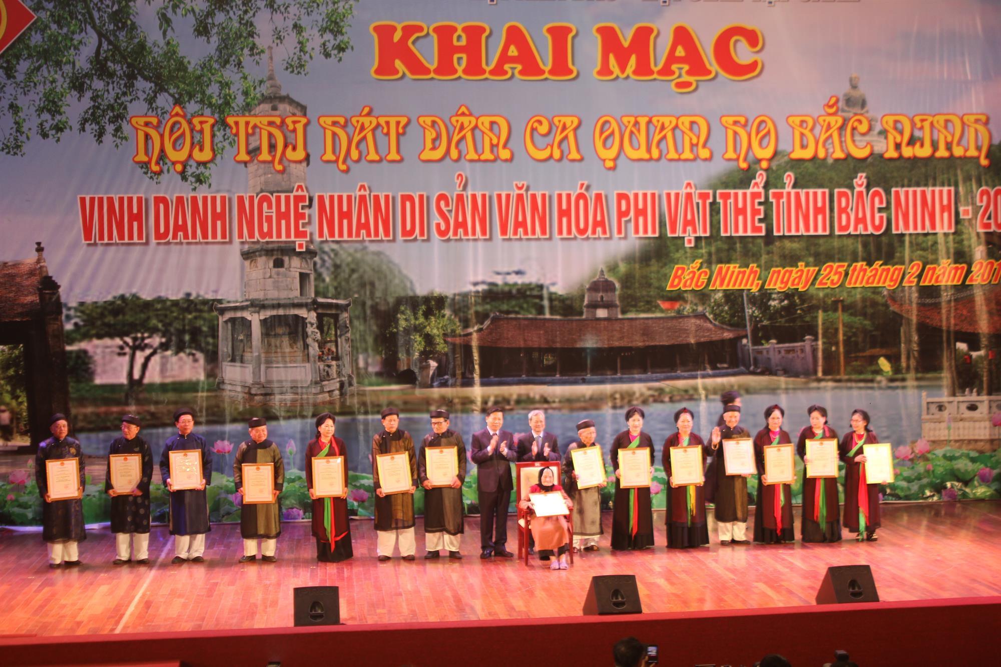 Khai mạc Hội thi hát Dân ca Quan họ Bắc Ninh xuân Mậu Tuất 2018 và Lễ Vinh danh Nghệ nhân Di sản văn hóa phi vật thể tỉnh