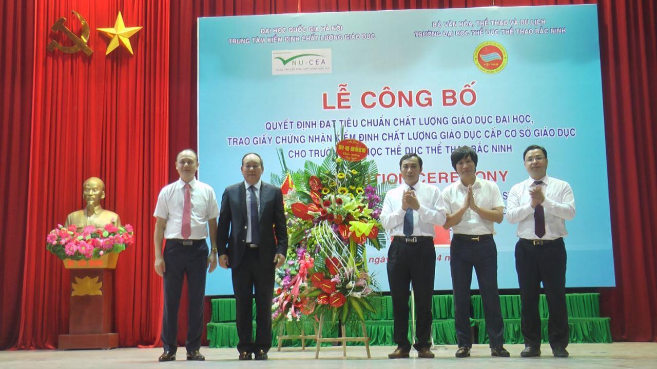 Trường Đại học Thể dục thể thao Bắc Ninh công bố Quyết định đạt tiêu chuẩn chất lượng giáo dục
