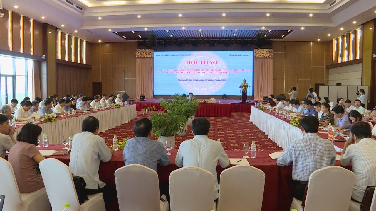 """Hội thảo """"Xây dựng khung năng lực vị trí việc làm công chức trong cơ quan Đảng, MTTQ Việt Nam và các tổ chức chính trị - xã hội"""""""