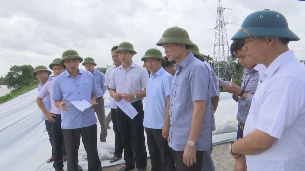 Phó Chủ tịch UBND tỉnh Nguyễn Hữu Thành kiểm tra khắc phục sự cố đê