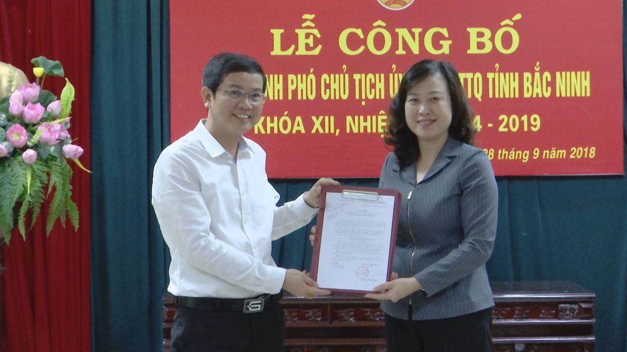 Công bố Quyết định bổ nhiệm Phó Chủ tịch Ủy ban MTTQ tỉnh