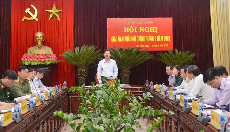 Tỉnh ủy giao ban Khối Nội chính 9 tháng năm 2018