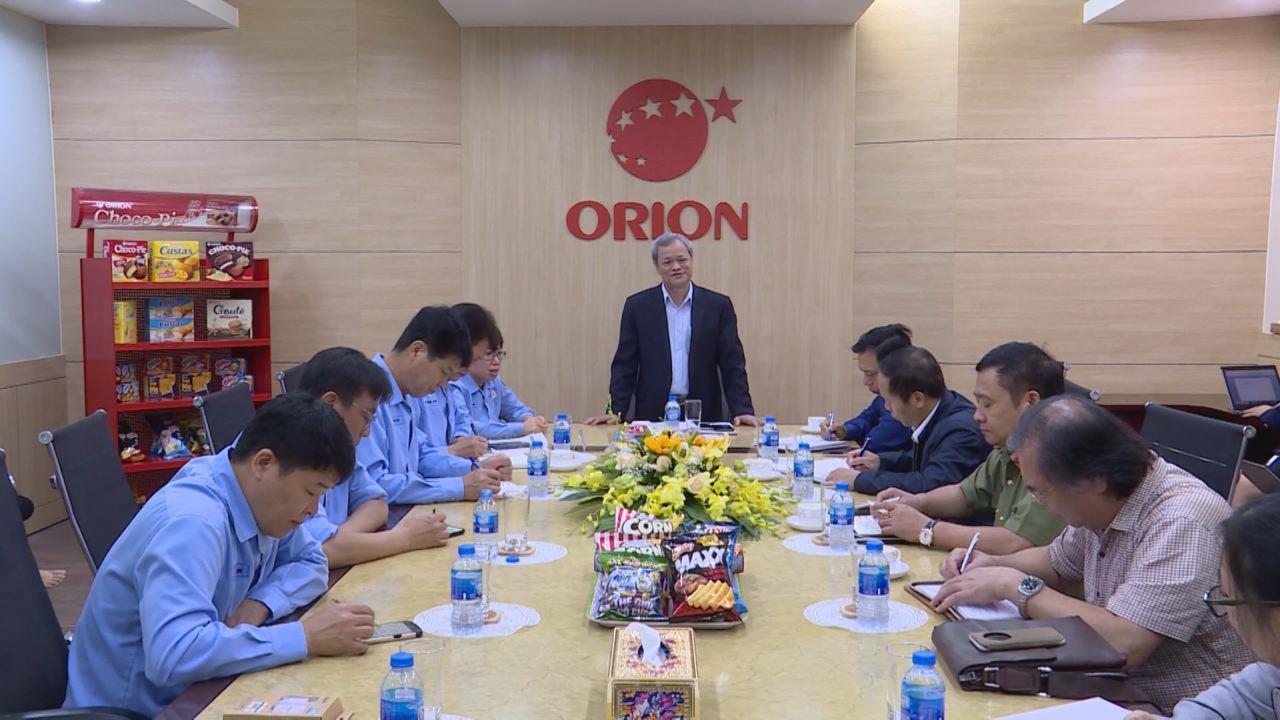 Chủ tịch UBND tỉnh làm việc với Công ty TNHH thực phẩm Orion Vina và Công ty TNHH Canon Việt Nam