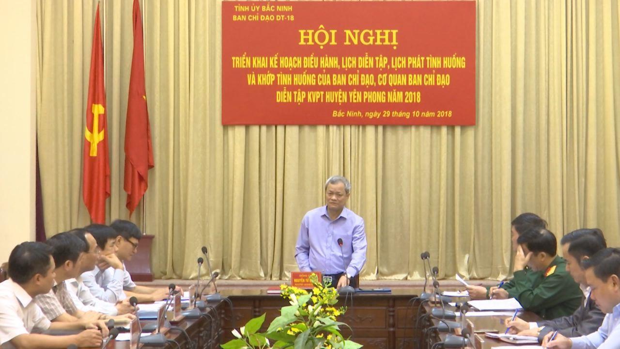 Ban Chỉ đạo diễn tập Khu vực phòng thủ huyện Yên Phong triển khai nhiệm vụ