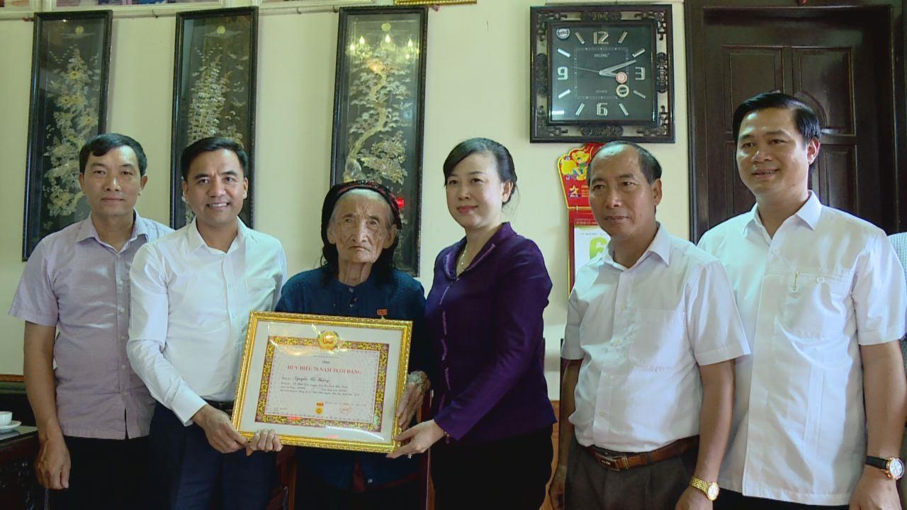 Phó Bí thư Tỉnh ủy Đào Hồng Lan trao Huy hiệu Đảng ở xã Phật Tích