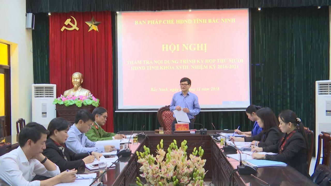 Thẩm tra các nội dung kỳ họp thứ 10 HĐND tỉnh khóa XVIII