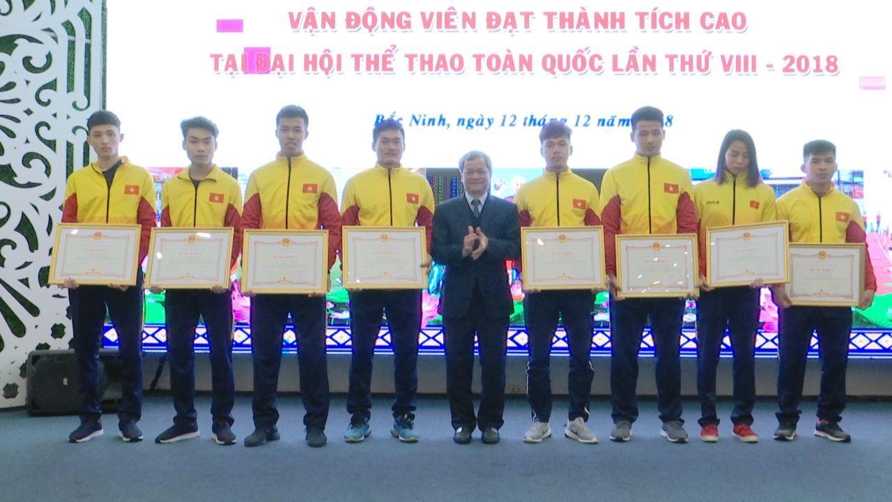 UBND tỉnh khen thưởng VĐV đạt thành tích cao tại Đại hội Thể dục thể thao toàn quốc lần thứ VIII năm 2018