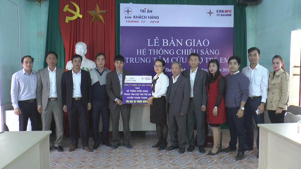 Điện lực Bắc Ninh bàn giao hệ thống chiếu sáng cho Trung tâm Cứu trợ trẻ em tàn tật huyện Thuận Thành