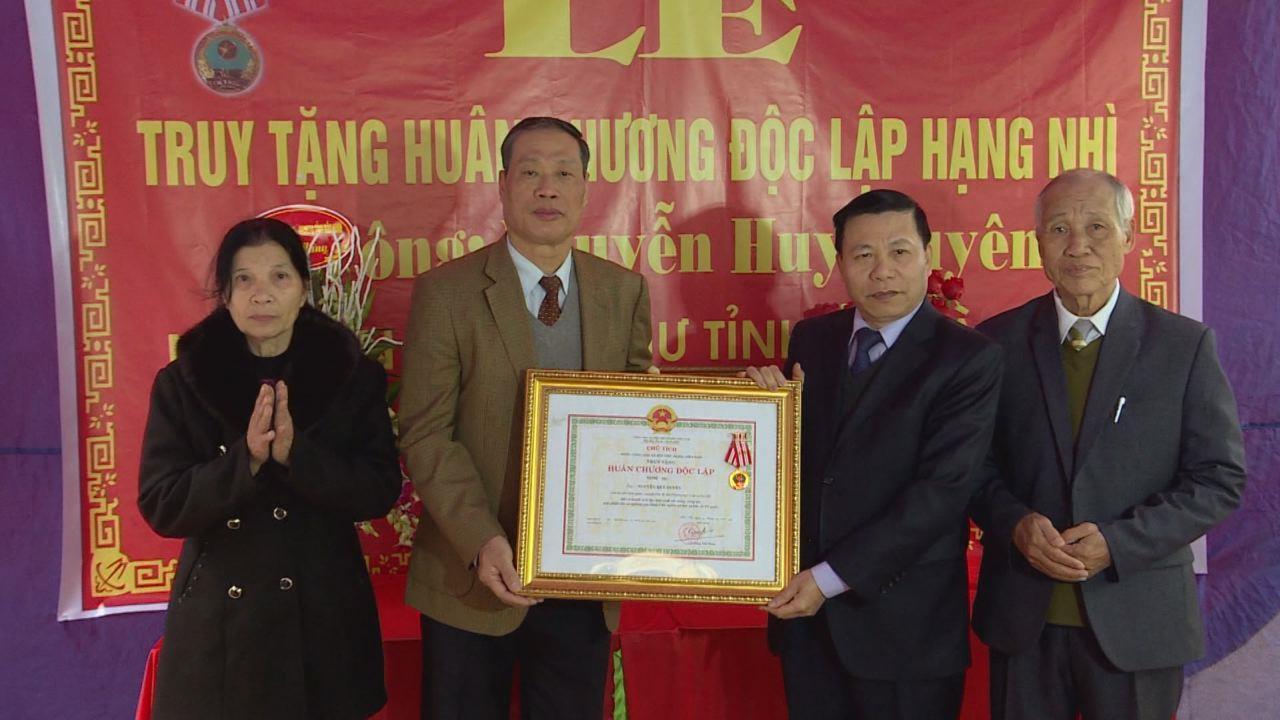 Truy tặng Huân chương Độc lập hạng Nhì cho nguyên Phó Bí thư Thường trực Tỉnh ủy Hà Bắc Nguyễn Huy Duyên