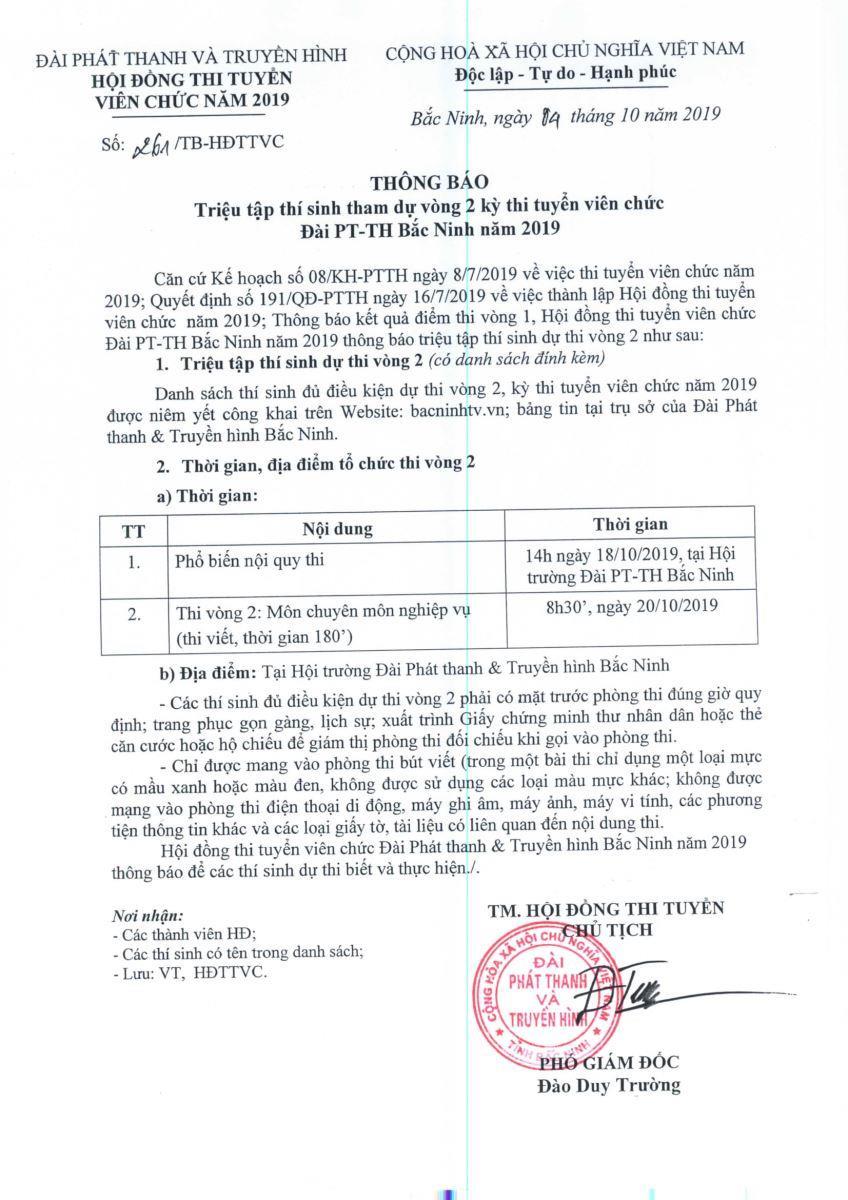 Thông báo triệu tập thí sinh tham dự vòng 2 kỳ thi tuyển viên chức Đài PT&TH Bắc Ninh năm 2019