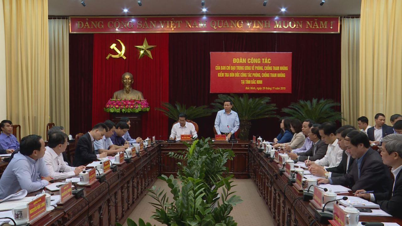 Ban Chỉ đạo Trung ương về phòng, chống tham nhũng làm việc tại Bắc Ninh