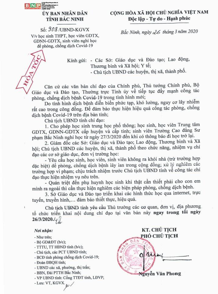 Công văn của UBND tỉnh về việc cho học sinh THPT nghỉ học để phòng chống dịch