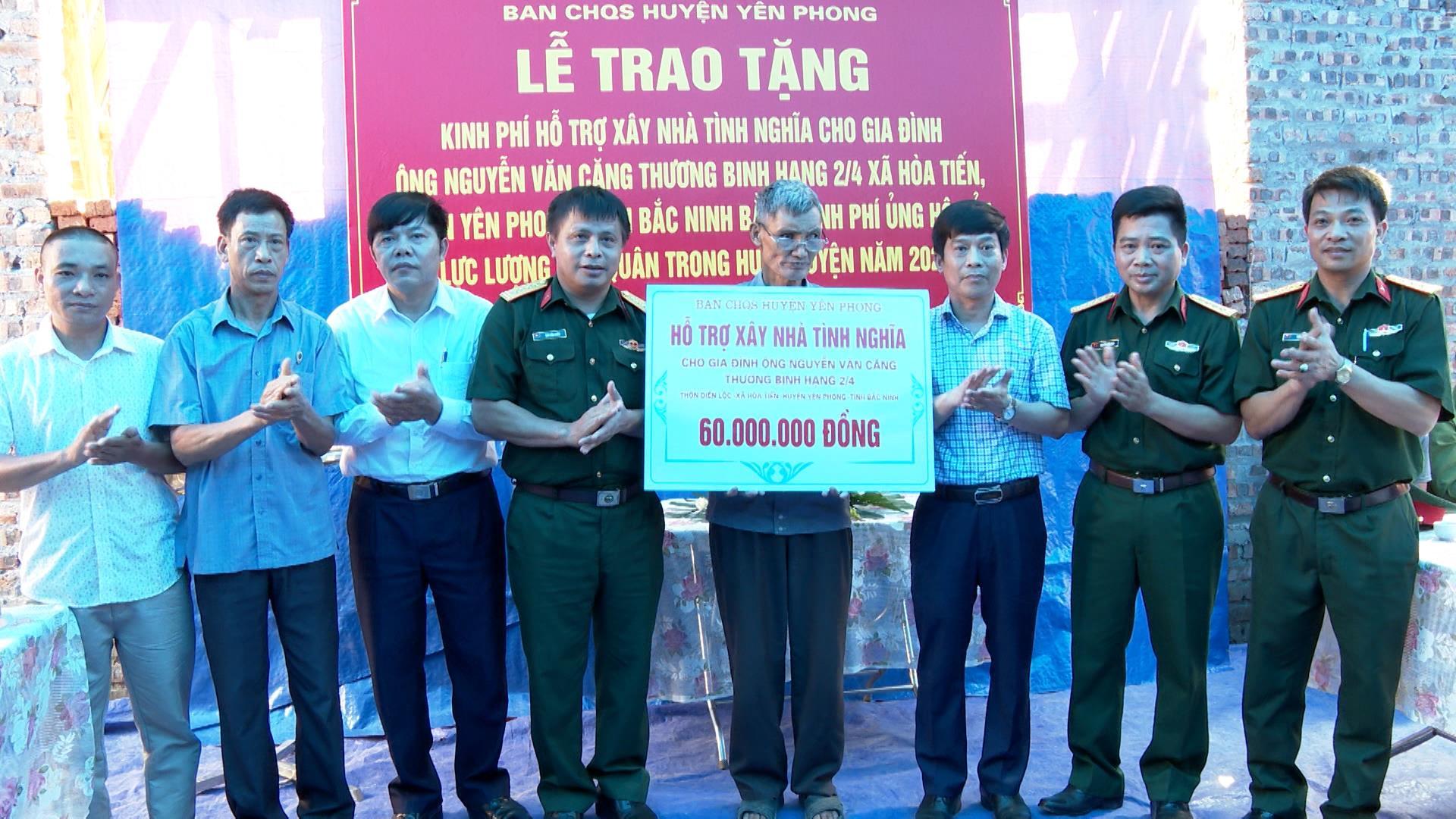 Ban CHQS huyện Yên Phong hỗ trợ kinh phí xây dựng nhà tình nghĩa