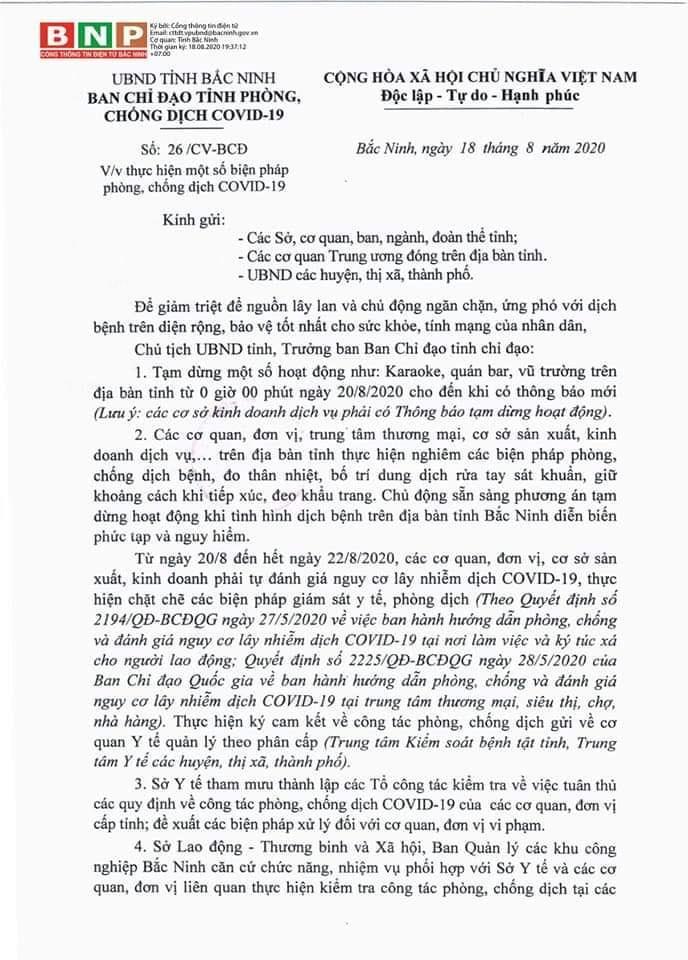 Công văn của UBND tỉnh về việc thực hiện một số biện pháp phòng, chống dịch Covid-19