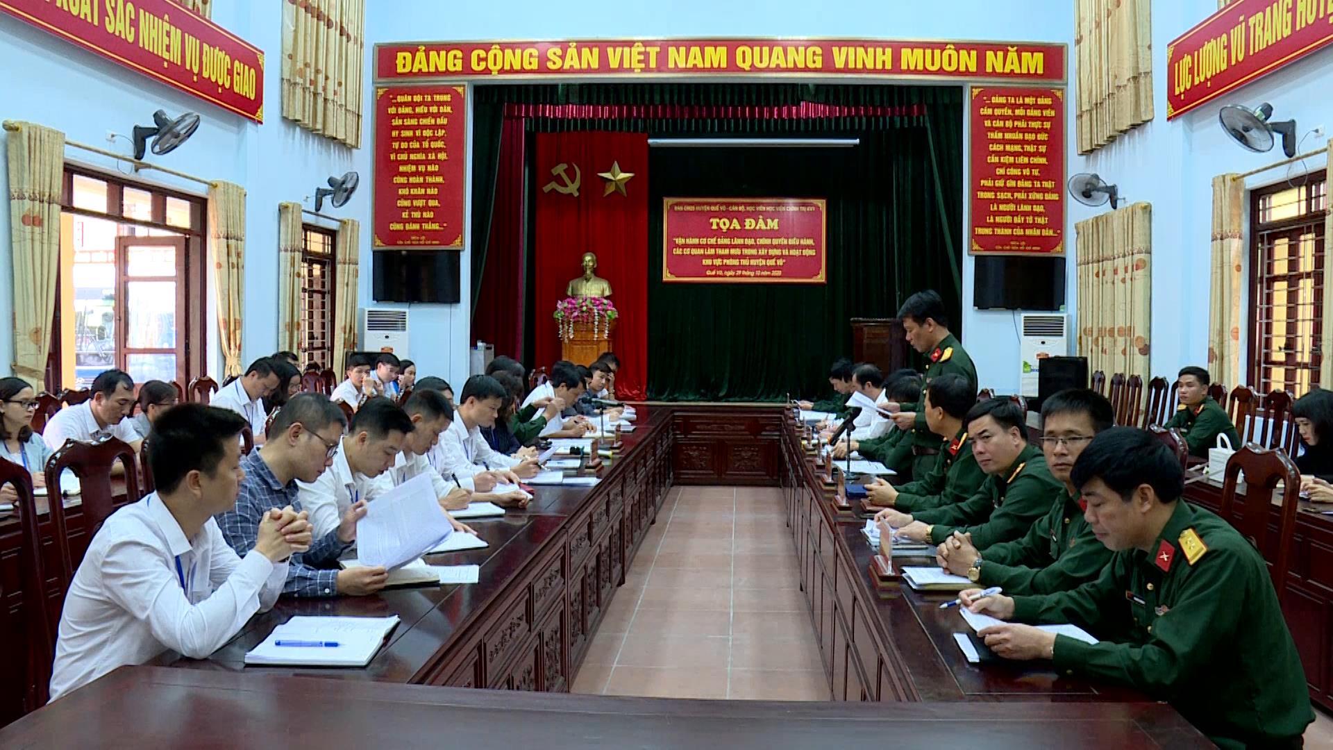 Đoàn cán bộ, học viên Học viện Chính trị khu vực I  nghiên cứu thực tế tại huyện Quế Võ