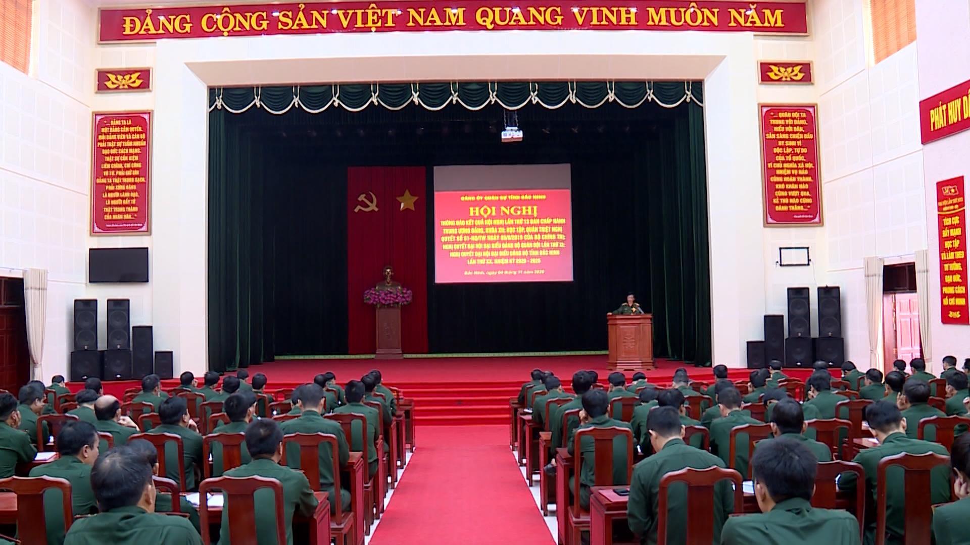 Đảng ủy Quân sự tỉnh thông báo kết quả Hội nghị lần thứ 13 của Đảng
