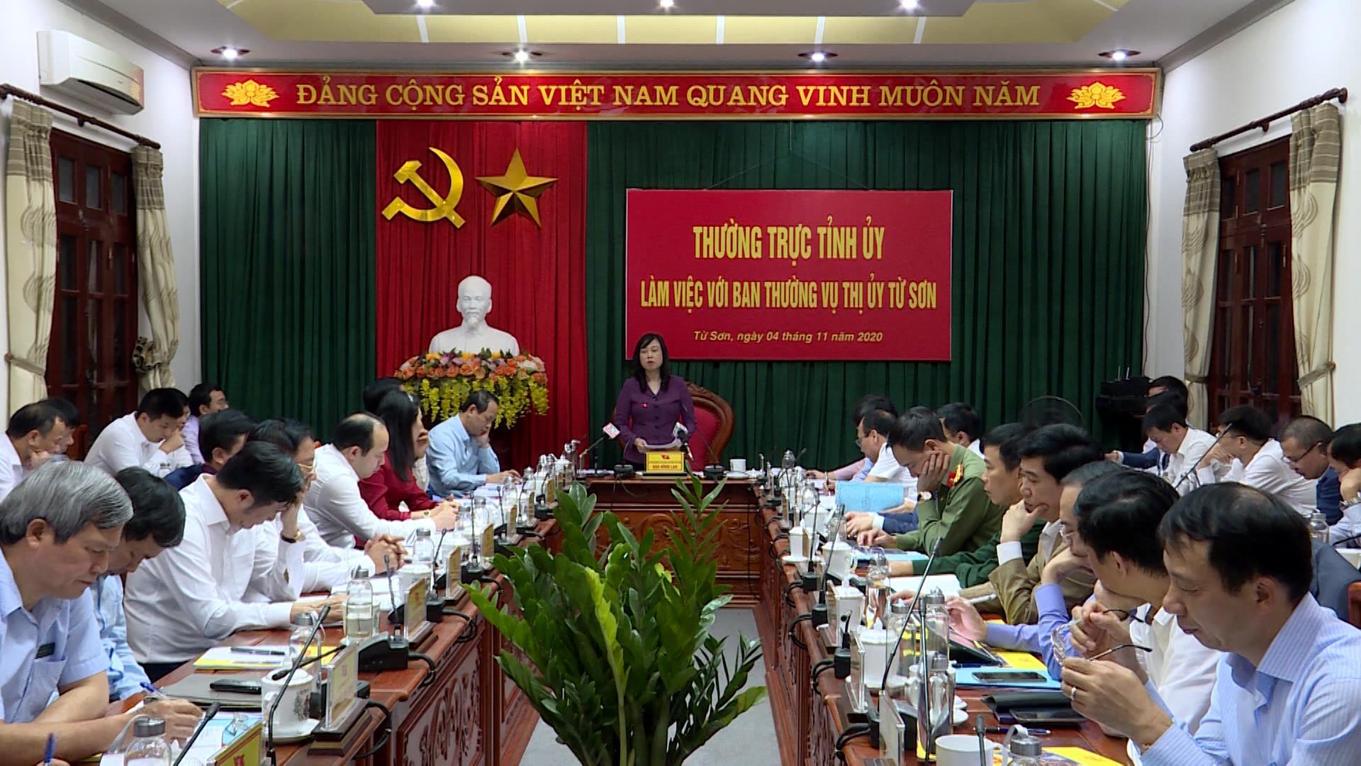 Thường trực Tỉnh ủy làm việc với Ban Thường vụ Thị ủy Từ Sơn