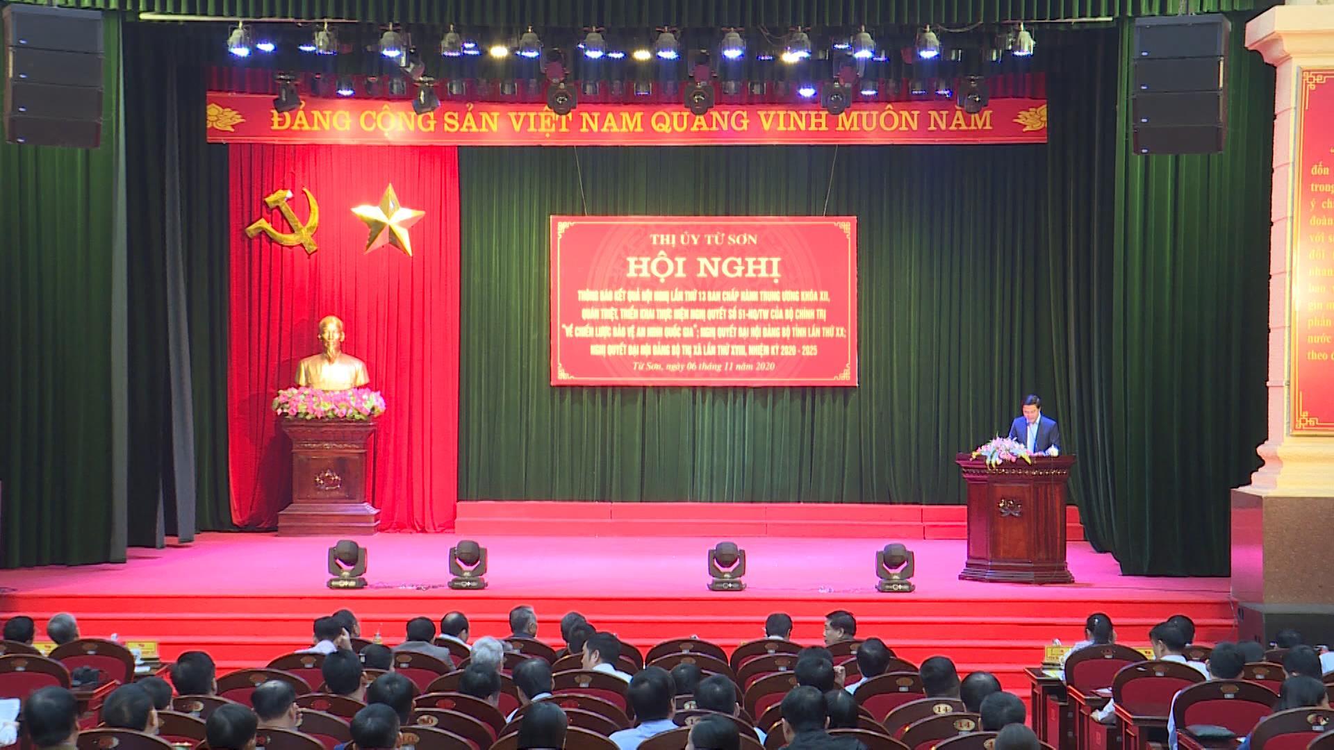 Thị ủy Từ Sơn tổ chức Hội nghị thông báo  Kết quả lần thứ 13 Ban chấp hành Trung ương khóa XII