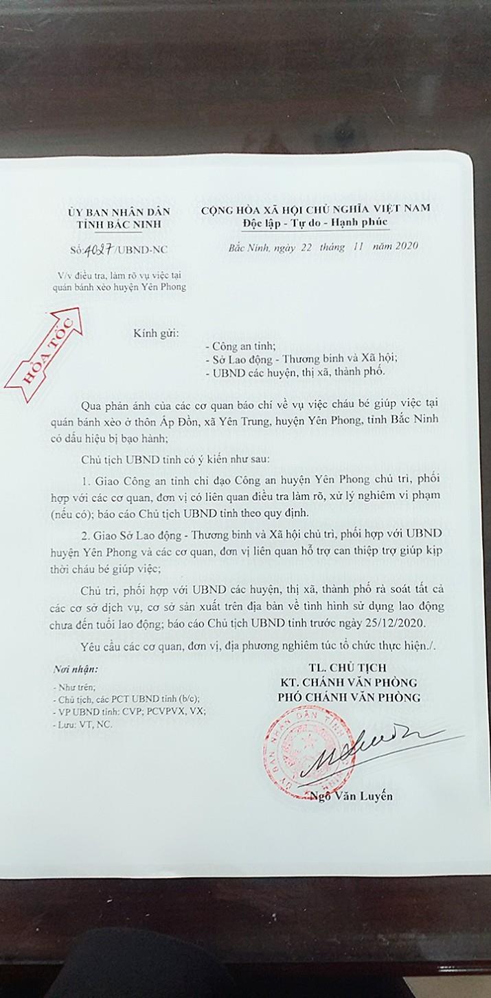 Chủ tịch UBND tỉnh ra văn bản hỏa tốc vụ  nhân viên quán bánh xèo có dấu hiệu bị bạo hành