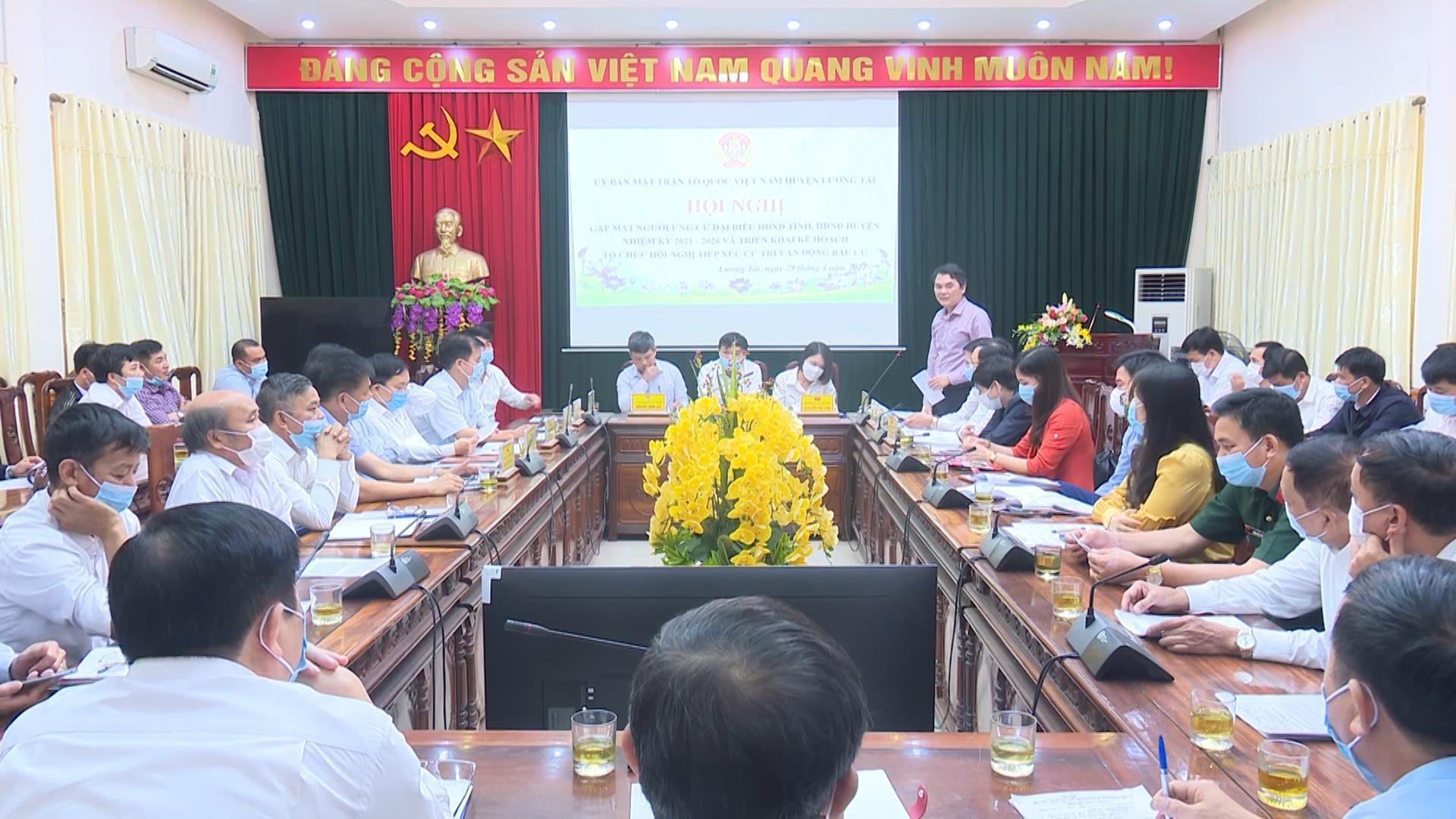 Lương Tài gặp mặt người ứng cử đại biểu HĐND tỉnh,  HĐND huyện nhiệm kỳ 2021 – 2026