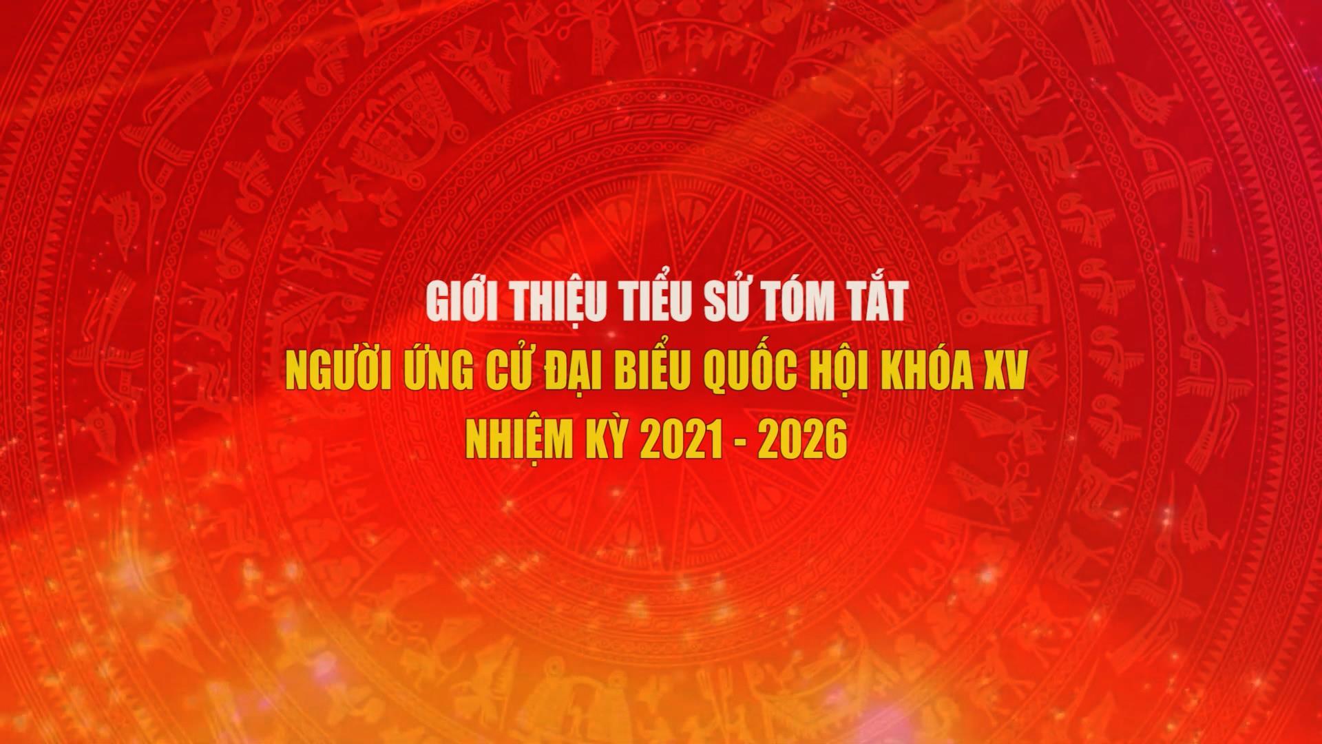 Giới thiệu tiểu sử tóm tắt người ứng cử Đại biểu Quốc hội khóa XV, nhiệm kỳ 2021 - 2026