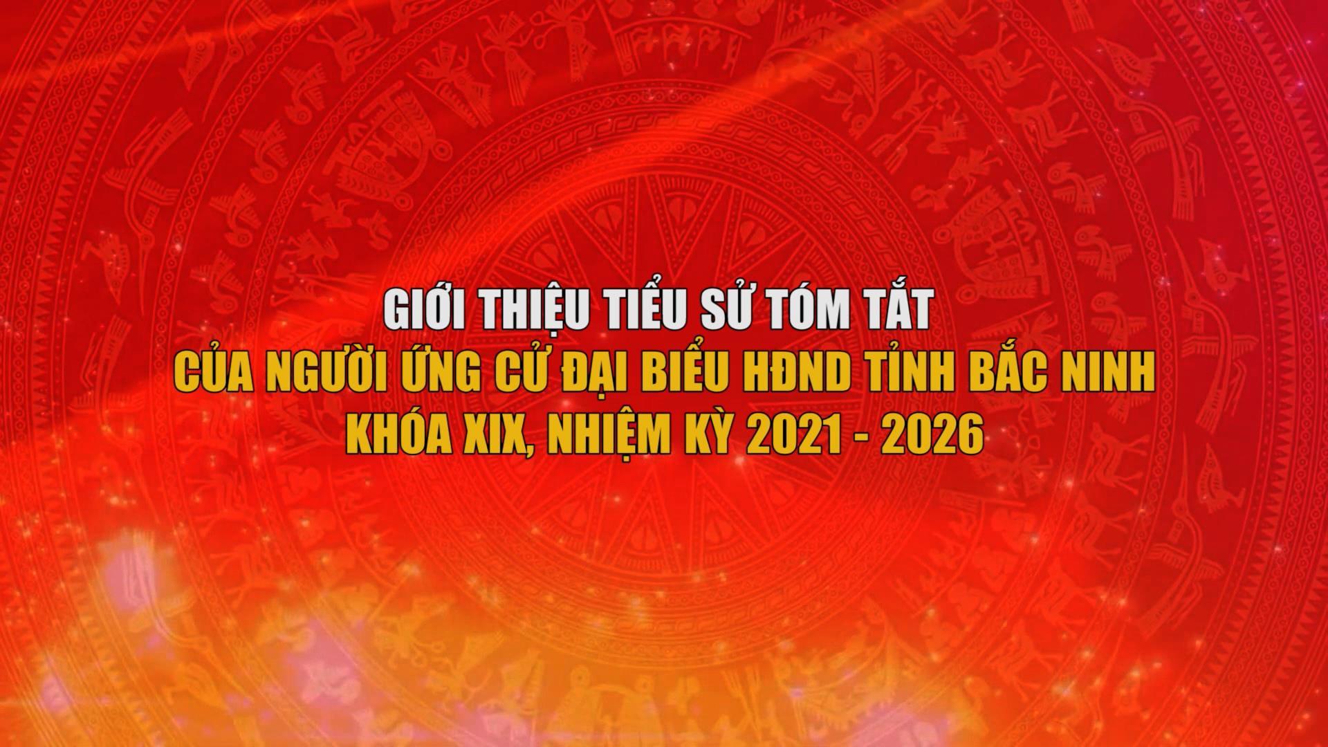 Giới thiệu tiểu sử tóm tắt của người ứng cử Đại biểu HĐND tỉnh Bắc Ninh khóa XIX, nhiệm kỳ 2021 - 2026 (Đơn vị bầu cử số 10,11,12)