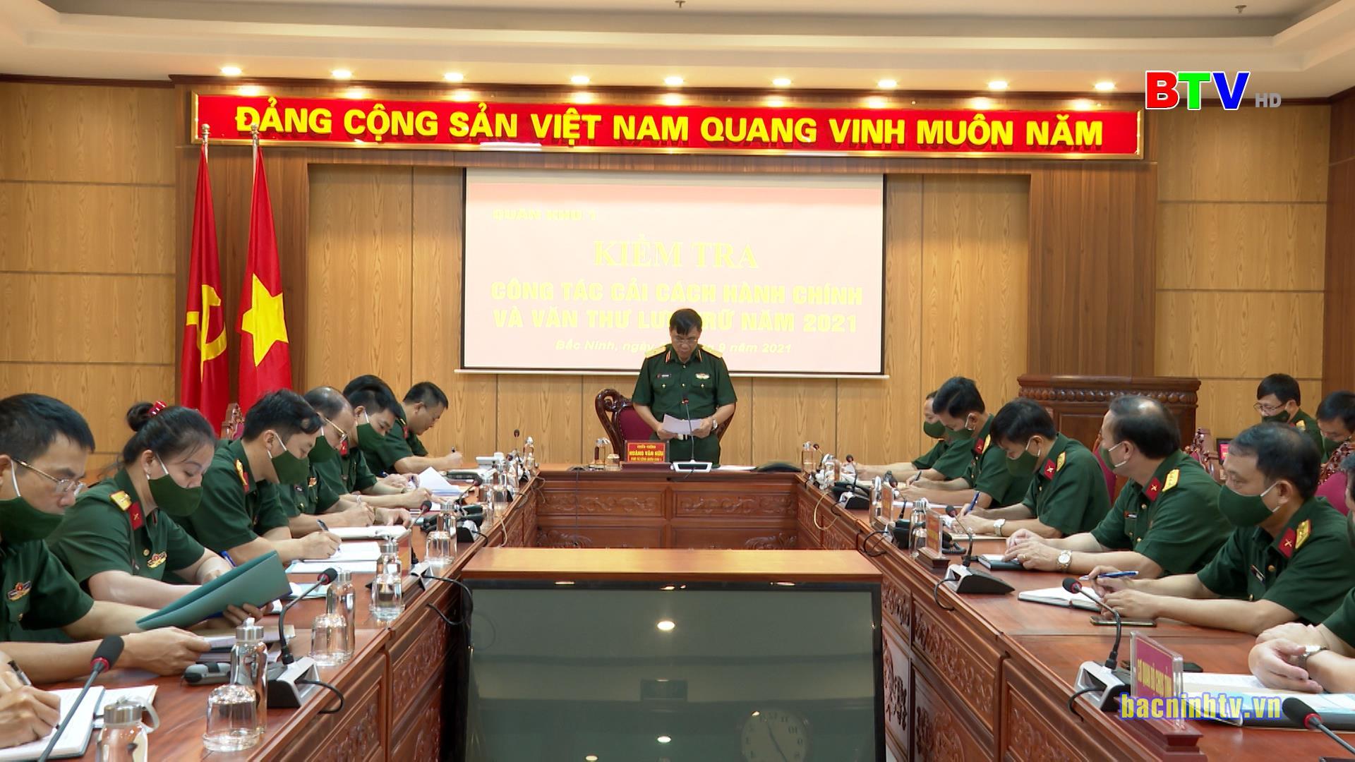Quân khu 1 kiểm tra kết quả công tác cải cách hành chính và văn thư, lưu trữ tại Bộ Chỉ huy Quân sự tỉnh