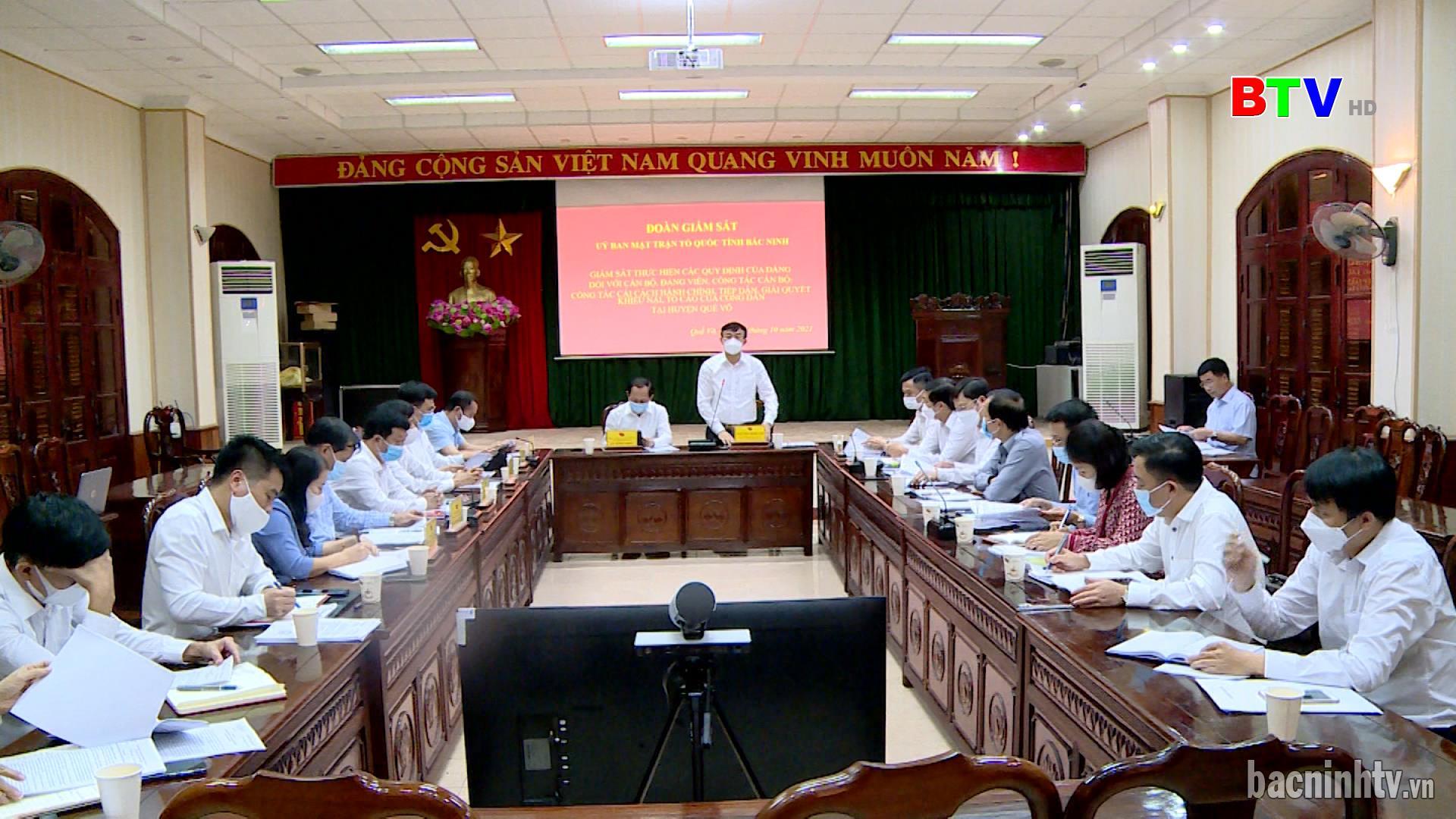 Ủy ban MTTQ tỉnh giám sát tại huyện Quế Võ
