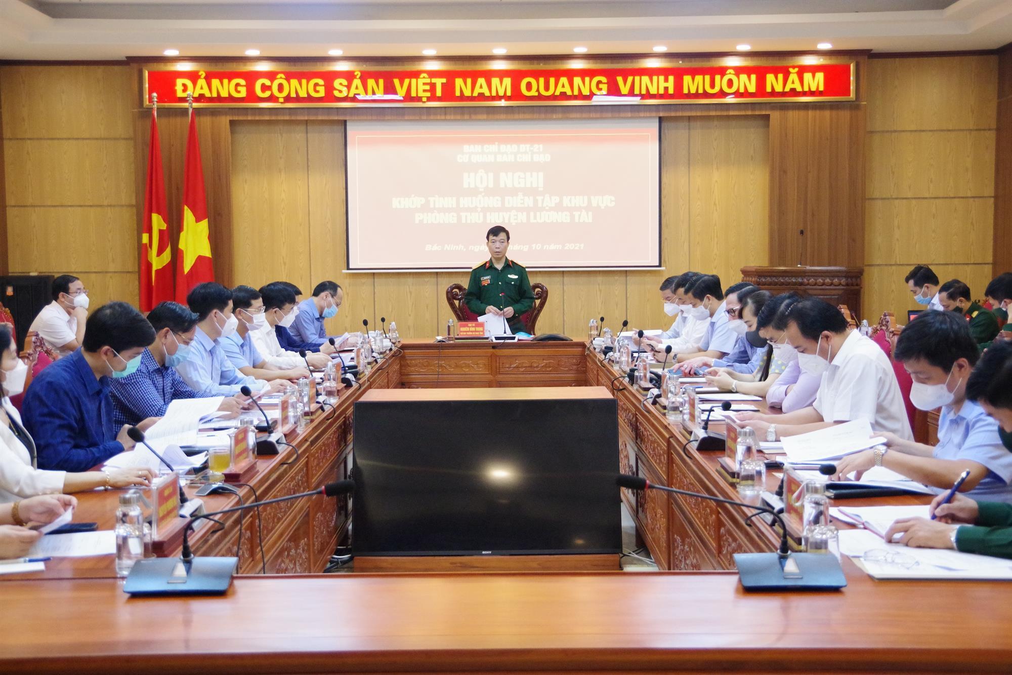 BCĐ diễn tập tỉnh tổ chức Hội nghị khớp tình huống diễn tập Khu vực phòng thủ huyện Lương Tài năm 2021